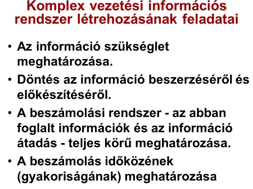 Komplex vezetési információs rendszer létrehozásának feladatai