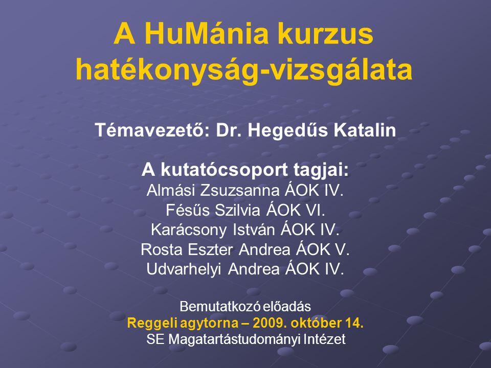 A HuMánia kurzus hatékonyság-vizsgálata