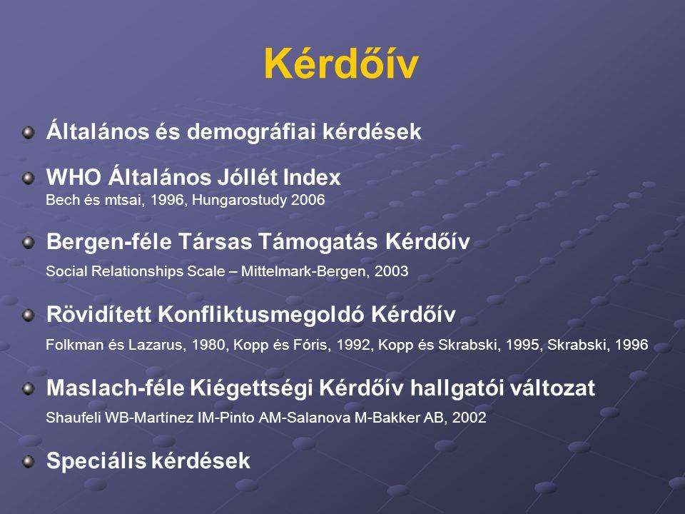 Kérdőív Általános és demográfiai kérdések WHO Általános Jóllét Index