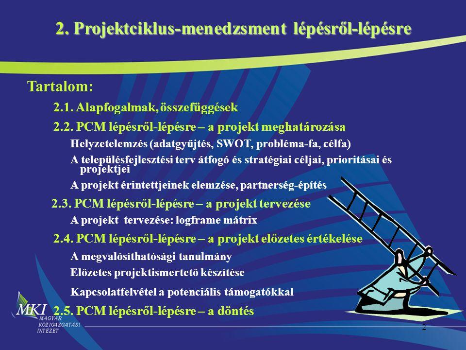 2. Projektciklus-menedzsment lépésről-lépésre