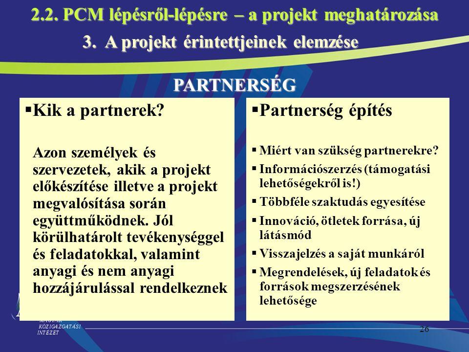 2.2. PCM lépésről-lépésre – a projekt meghatározása