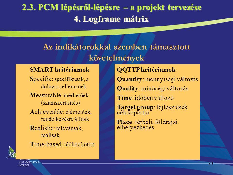2.3. PCM lépésről-lépésre – a projekt tervezése 4. Logframe mátrix
