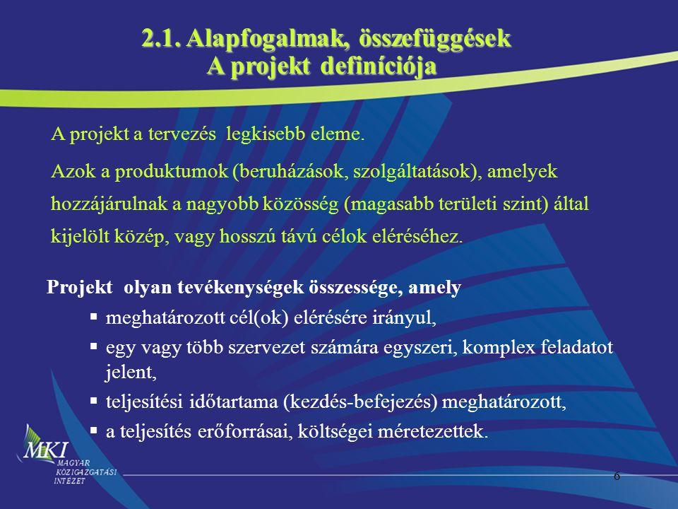 2.1. Alapfogalmak, összefüggések A projekt definíciója