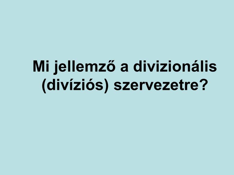 Mi jellemző a divizionális (divíziós) szervezetre