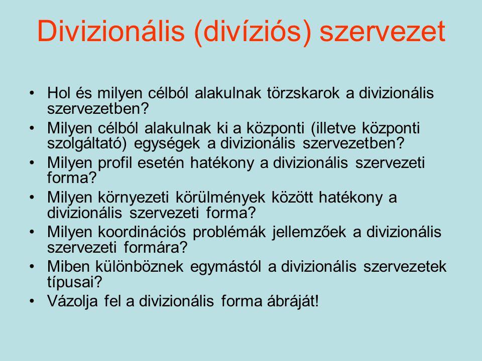 Divizionális (divíziós) szervezet