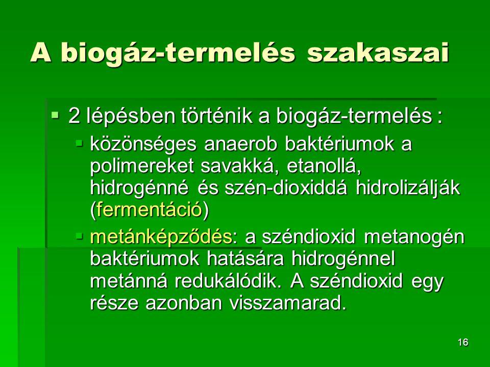 A biogáz-termelés szakaszai