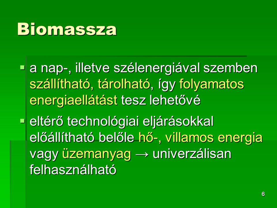 Biomassza a nap-, illetve szélenergiával szemben szállítható, tárolható, így folyamatos energiaellátást tesz lehetővé.