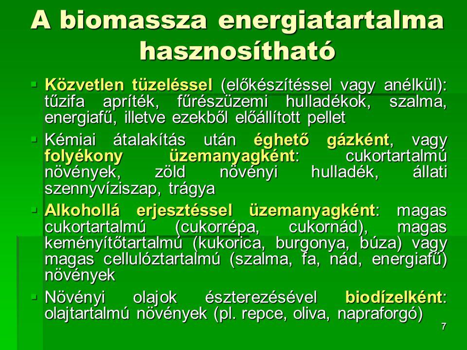 A biomassza energiatartalma hasznosítható