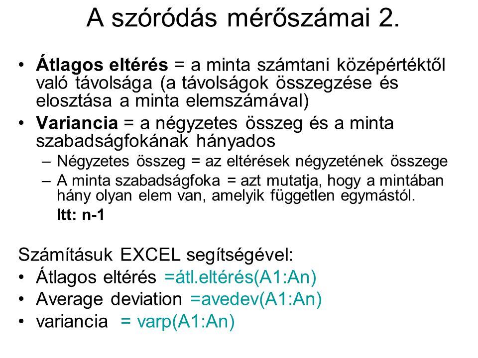 A szóródás mérőszámai 2. Átlagos eltérés = a minta számtani középértéktől való távolsága (a távolságok összegzése és elosztása a minta elemszámával)