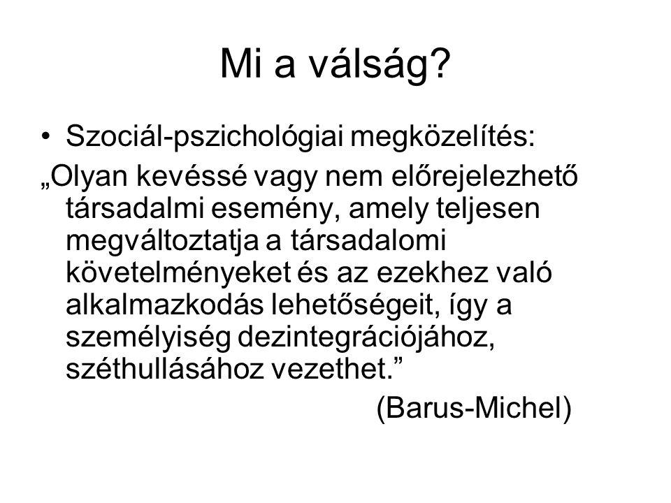 Mi a válság Szociál-pszichológiai megközelítés: