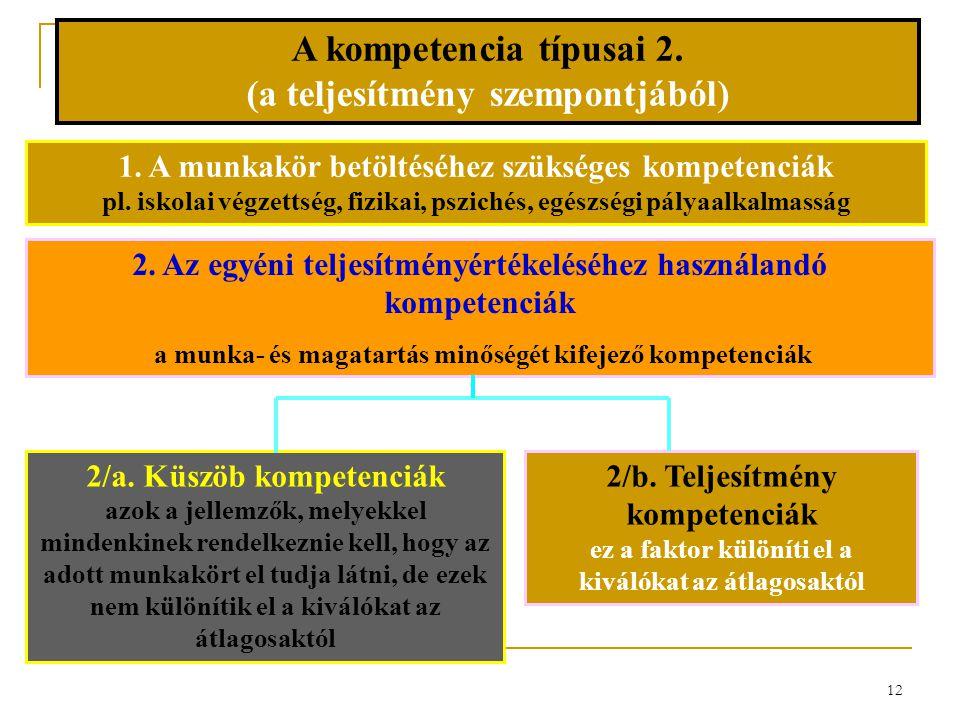 A kompetencia típusai 2. (a teljesítmény szempontjából)