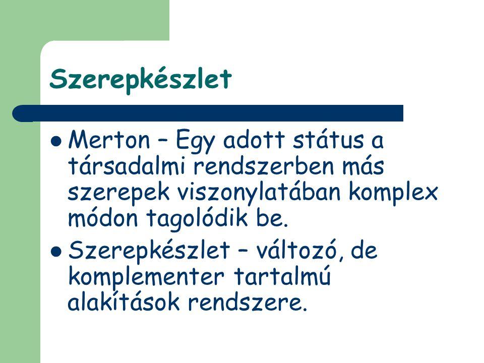 Szerepkészlet Merton – Egy adott státus a társadalmi rendszerben más szerepek viszonylatában komplex módon tagolódik be.