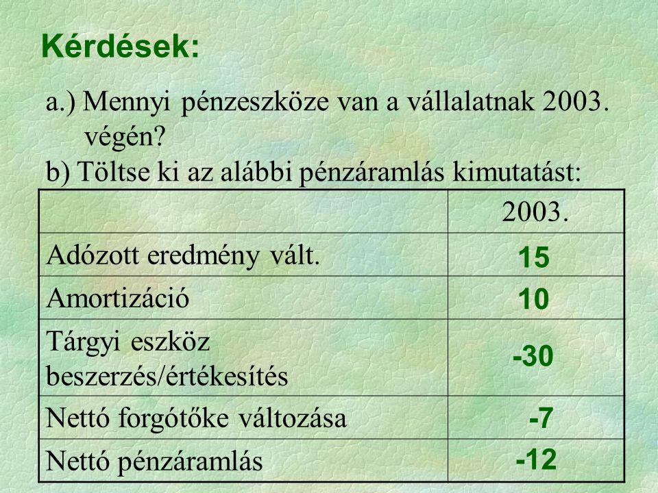 Kérdések: a.) Mennyi pénzeszköze van a vállalatnak 2003. végén 2003.