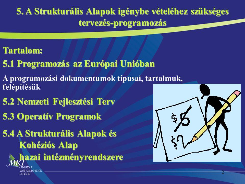 5.1 Programozás az Európai Unióban