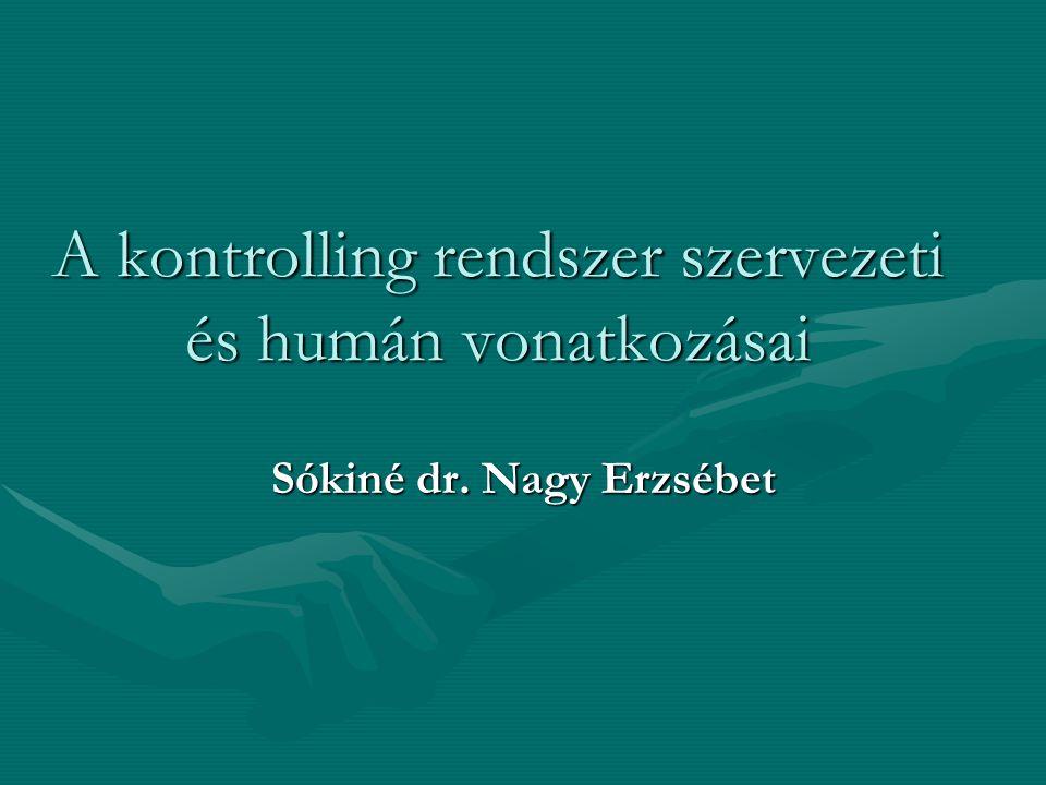 A kontrolling rendszer szervezeti és humán vonatkozásai