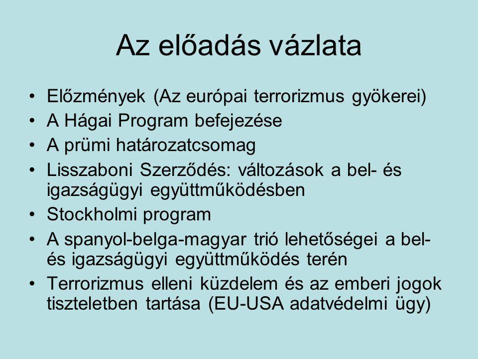Az előadás vázlata Előzmények (Az európai terrorizmus gyökerei)