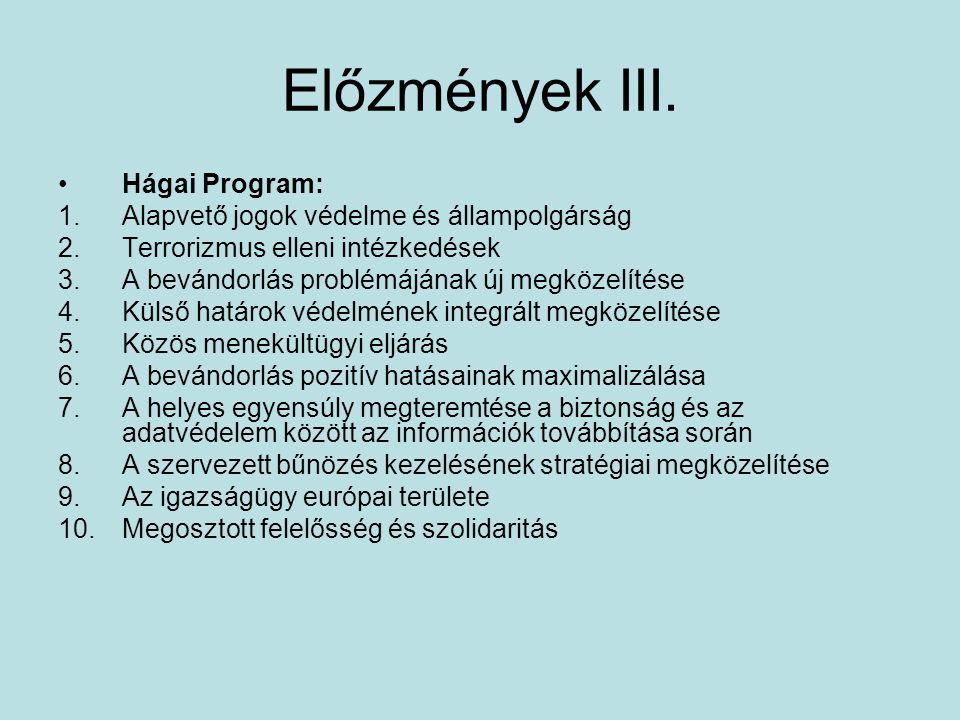 Előzmények III. Hágai Program: