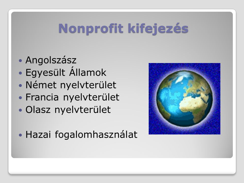 Nonprofit kifejezés Angolszász Egyesült Államok Német nyelvterület