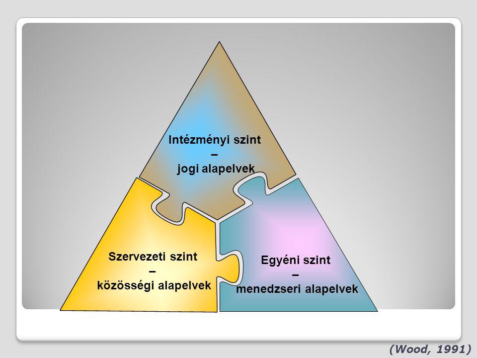 Intézményi szint – jogi alapelvek Szervezeti szint Egyéni szint – –