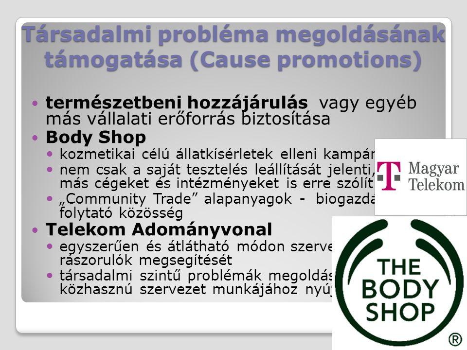 Társadalmi probléma megoldásának támogatása (Cause promotions)