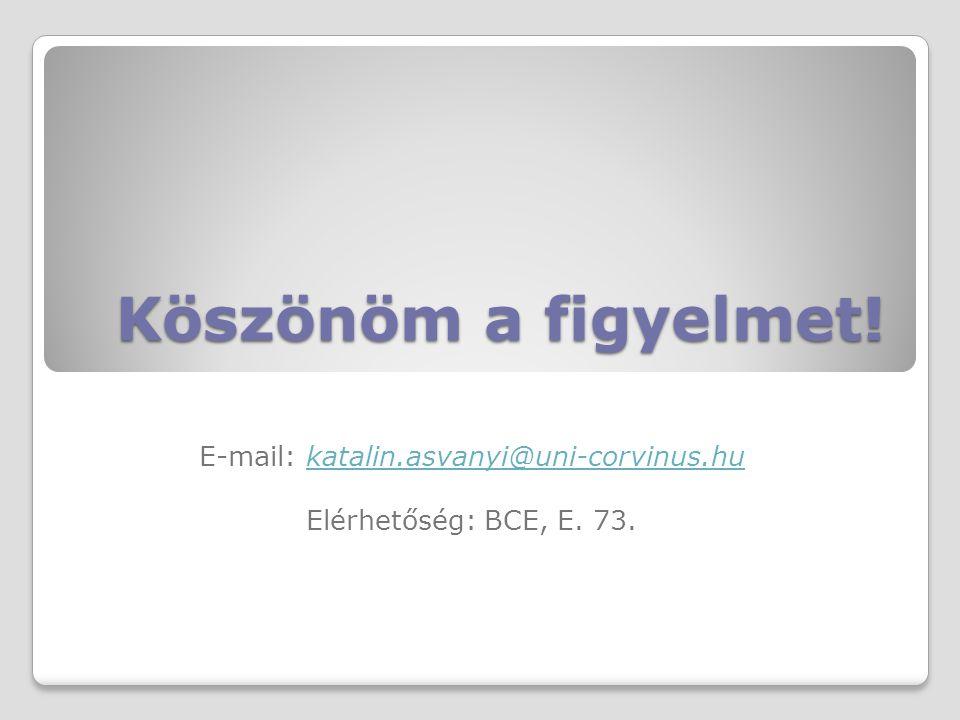 E-mail: katalin.asvanyi@uni-corvinus.hu Elérhetőség: BCE, E. 73.