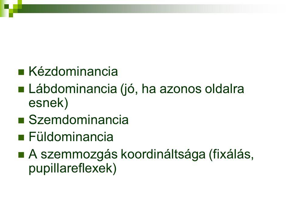 Kézdominancia Lábdominancia (jó, ha azonos oldalra esnek) Szemdominancia.