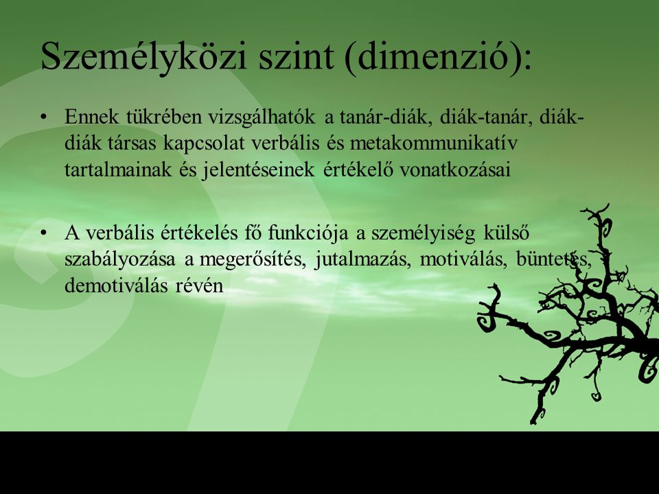 Személyközi szint (dimenzió):
