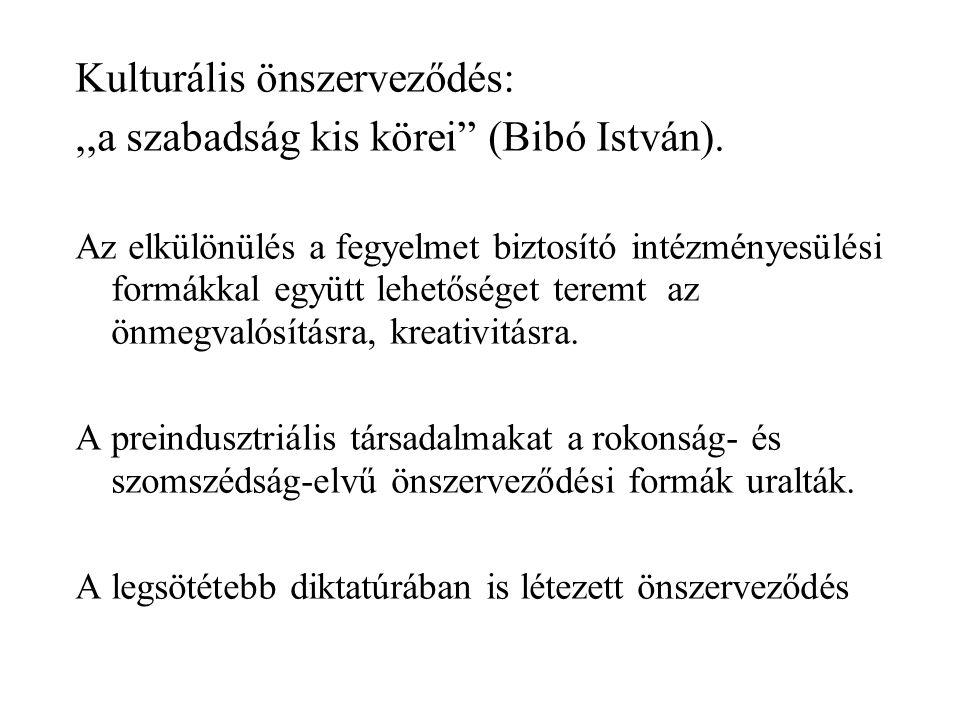Kulturális önszerveződés: ,,a szabadság kis körei (Bibó István).