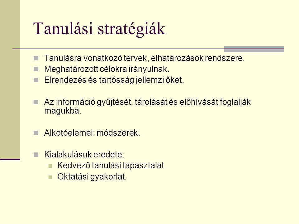 Tanulási stratégiák Tanulásra vonatkozó tervek, elhatározások rendszere. Meghatározott célokra irányulnak.