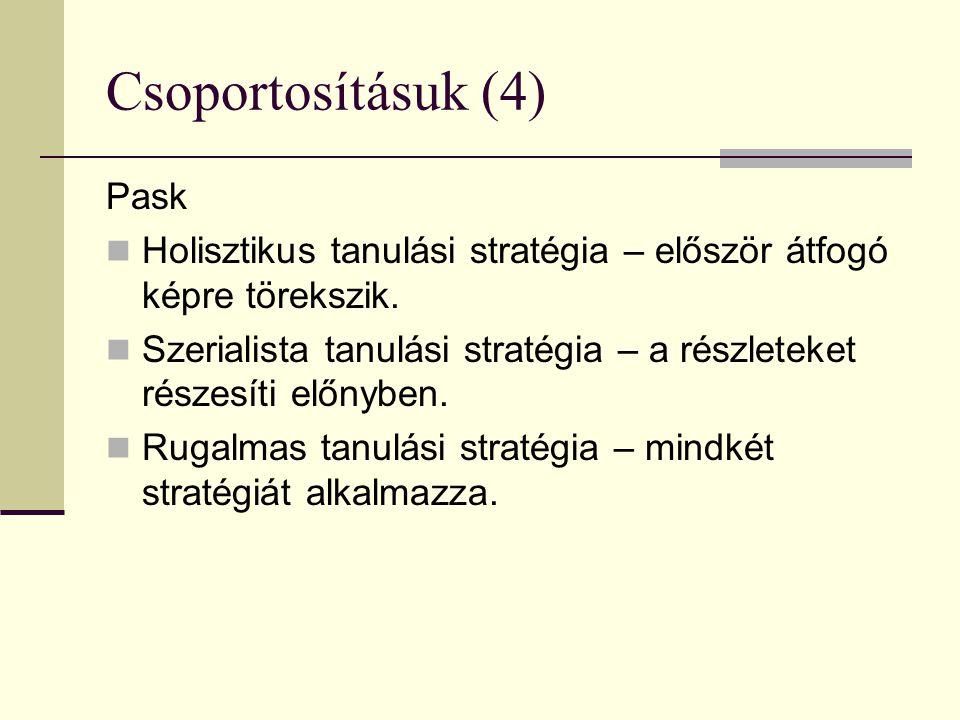 Csoportosításuk (4) Pask