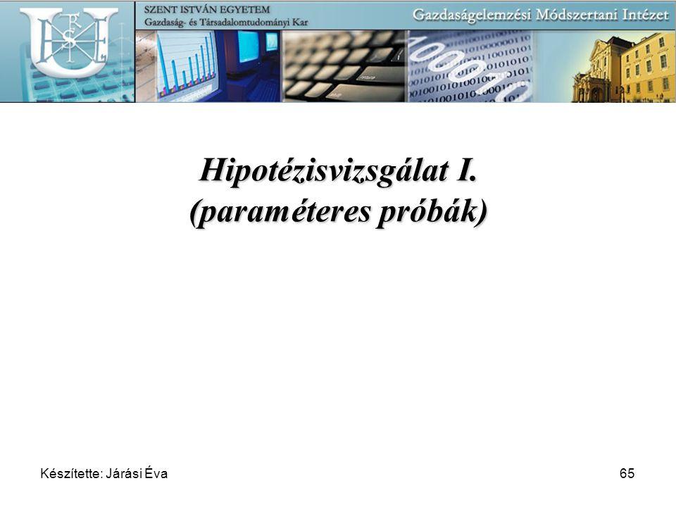 Hipotézisvizsgálat I. (paraméteres próbák)