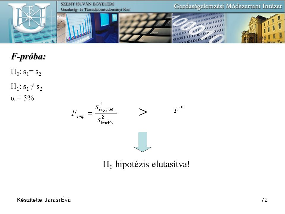 > F-próba: H0 hipotézis elutasítva! H0: s1= s2 H1: s1 ≠ s2 α = 5%