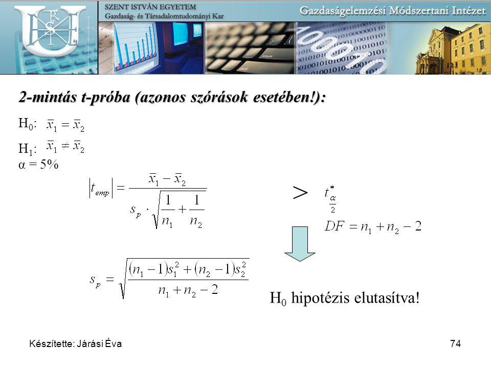 > 2-mintás t-próba (azonos szórások esetében!):