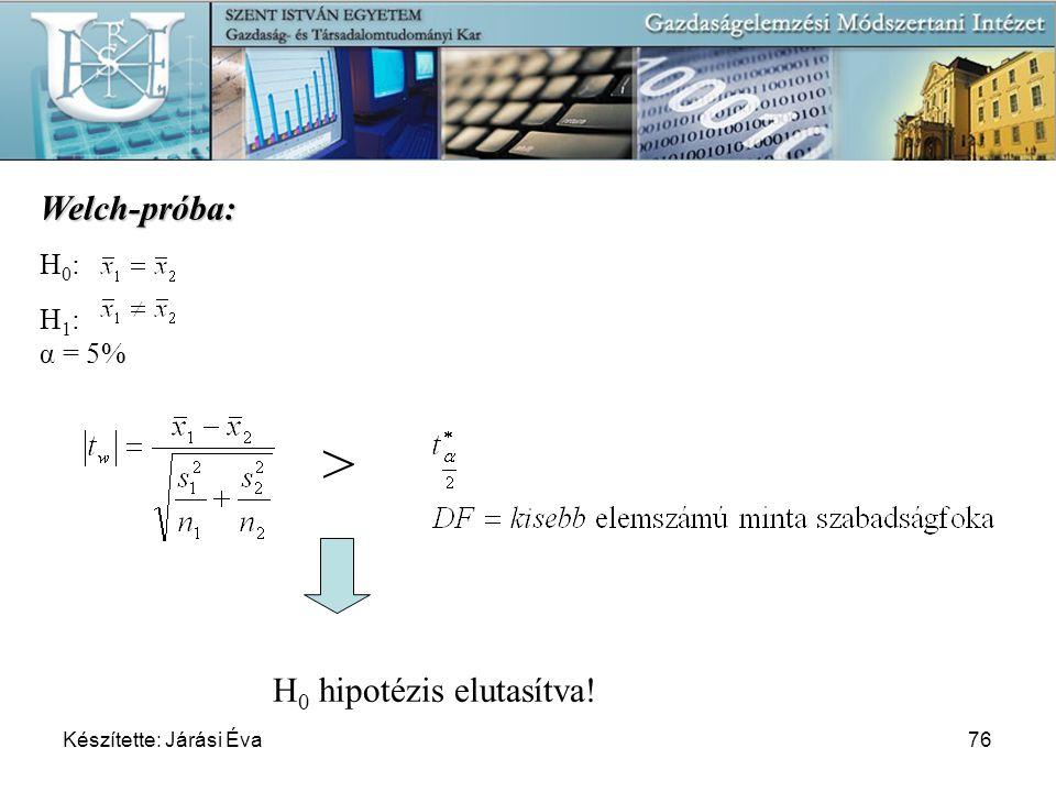> Welch-próba: H0 hipotézis elutasítva! H0: H1: α = 5%