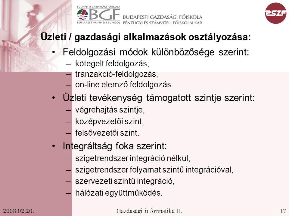 Üzleti / gazdasági alkalmazások osztályozása: