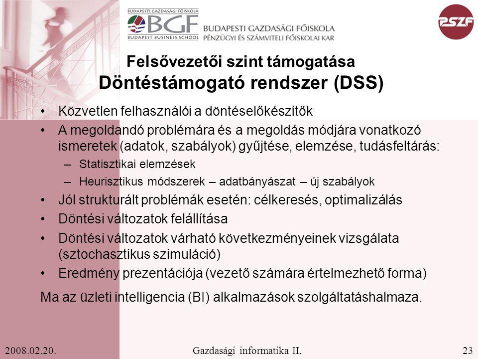Felsővezetői szint támogatása Döntéstámogató rendszer (DSS)
