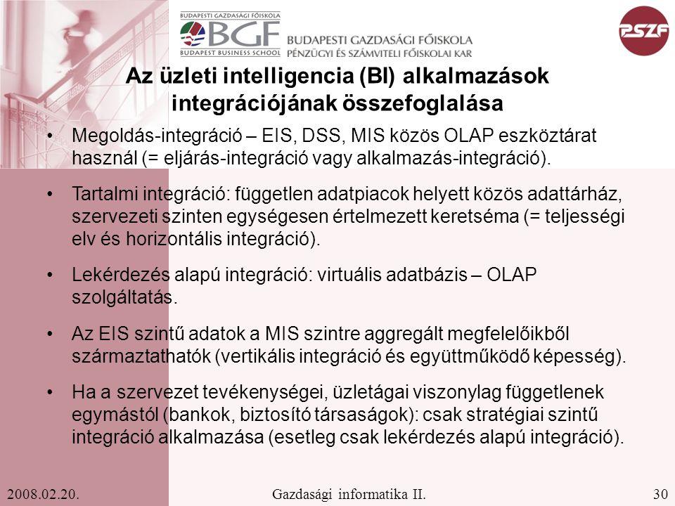 Az üzleti intelligencia (BI) alkalmazások integrációjának összefoglalása