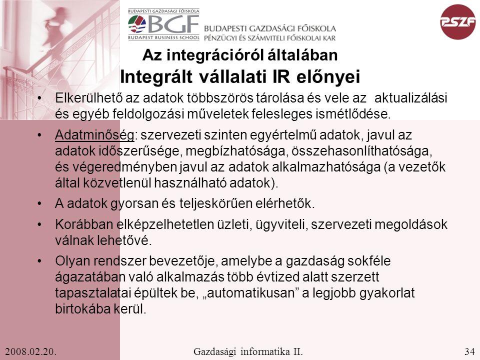 Az integrációról általában Integrált vállalati IR előnyei