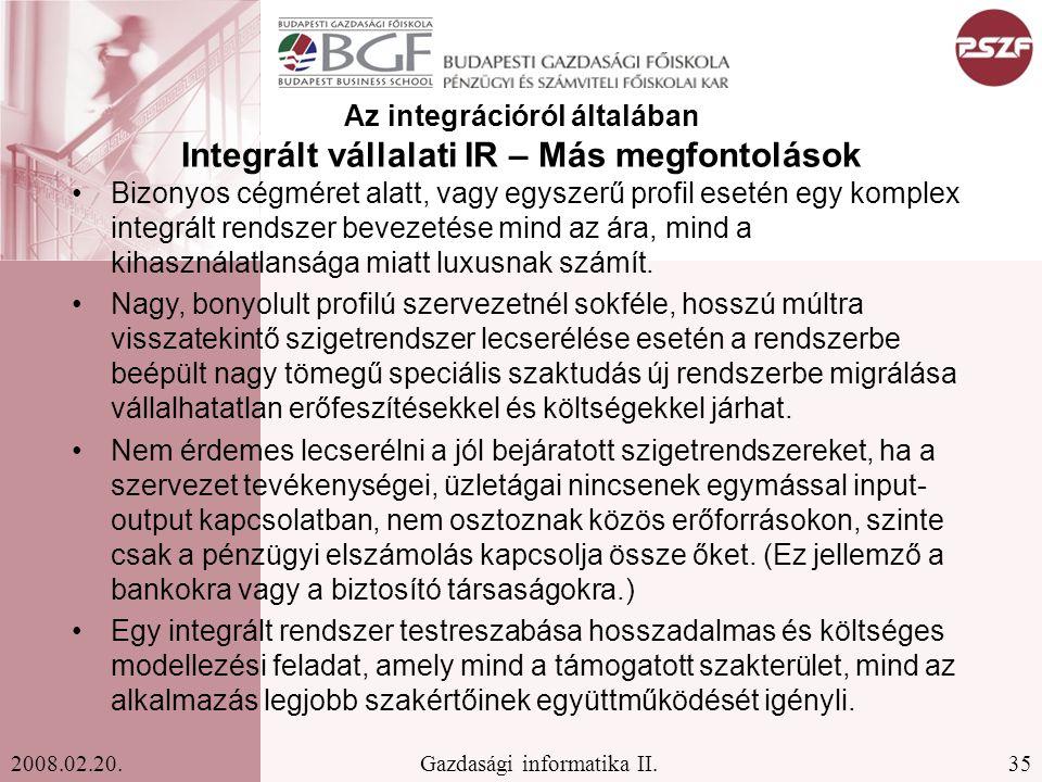 Az integrációról általában Integrált vállalati IR – Más megfontolások