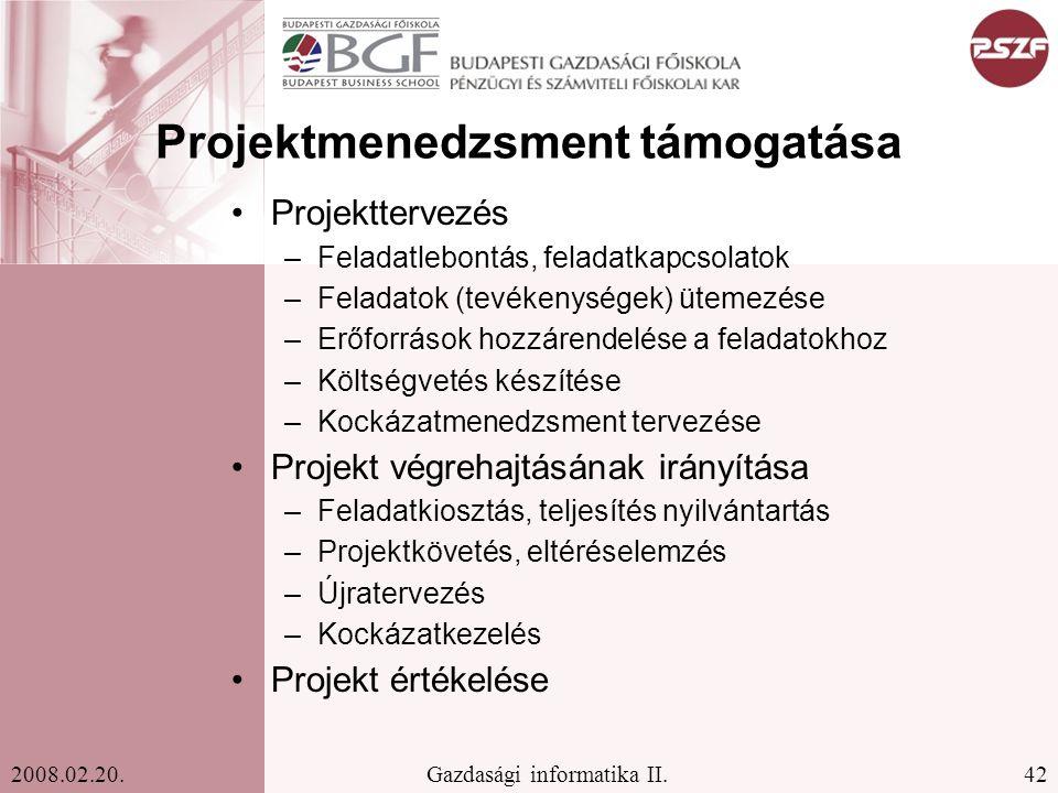 Projektmenedzsment támogatása