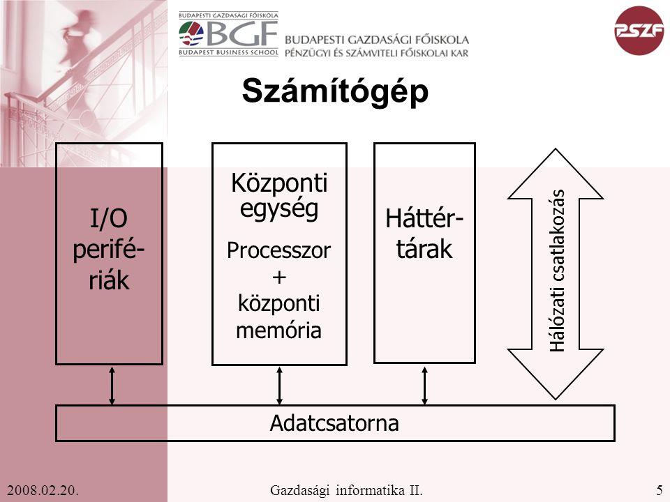 Processzor + központi memória