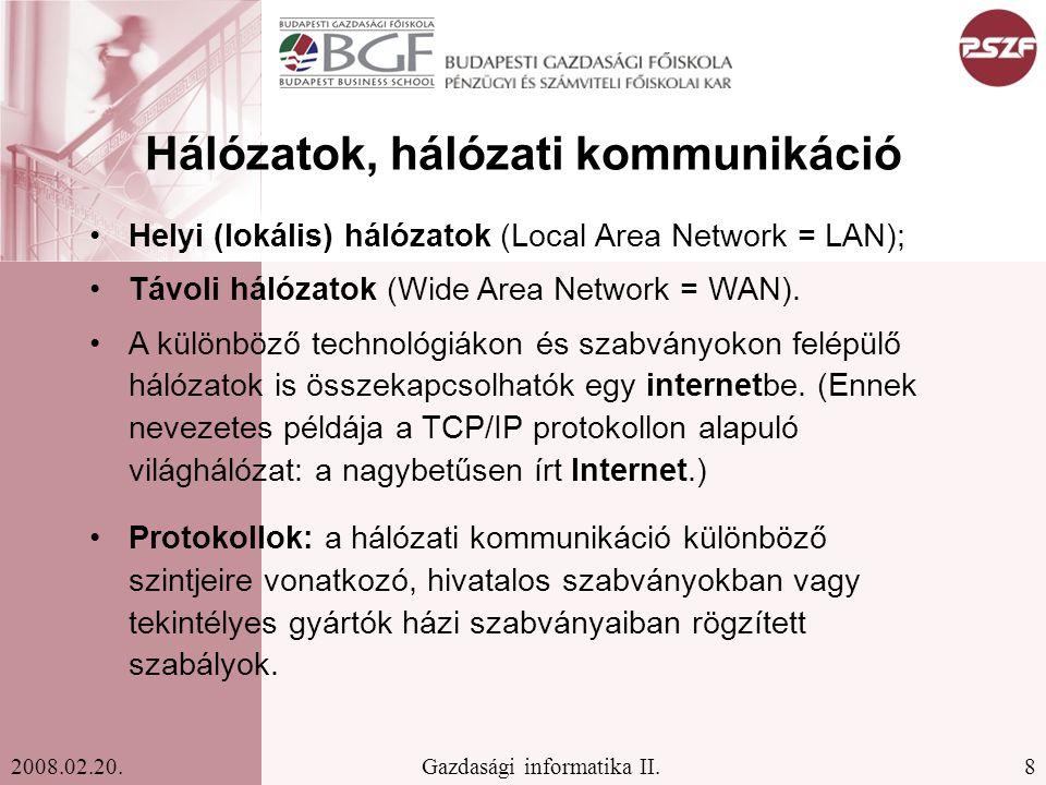 Hálózatok, hálózati kommunikáció