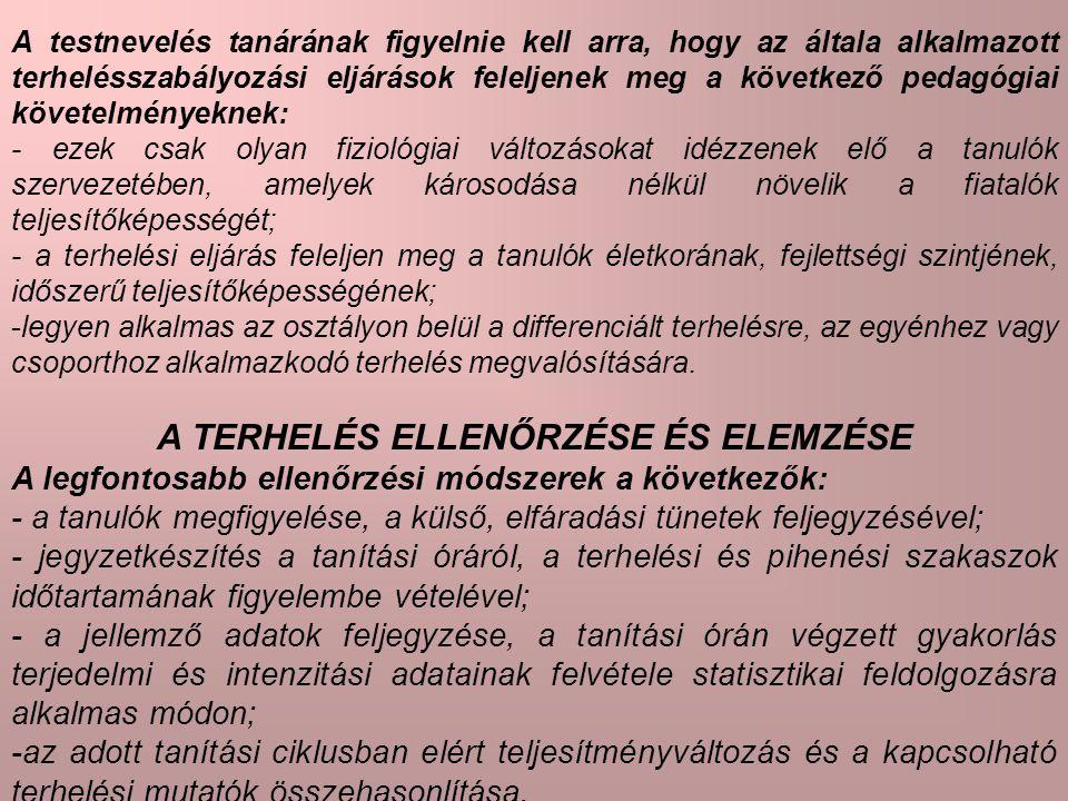 A TERHELÉS ELLENŐRZÉSE ÉS ELEMZÉSE