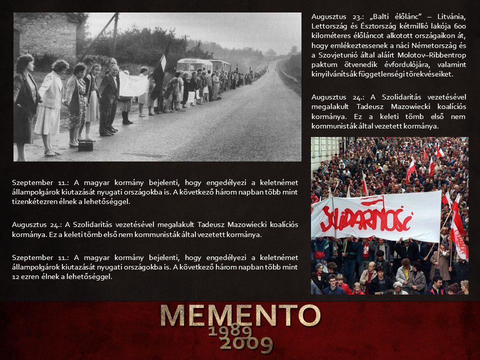 """Augusztus 23.: """"Balti élőlánc – Litvánia, Lettország és Észtország kétmillió lakója 600 kilométeres élőláncot alkotott országaikon át, hogy emlékeztessenek a náci Németország és a Szovjetunió által aláírt Molotov–Ribbentrop paktum ötvenedik évfordulójára, valamint kinyilvánítsák függetlenségi törekvéseiket. Augusztus 24.: A Szolidaritás vezetésével megalakult Tadeusz Mazowiecki koalíciós kormánya. Ez a keleti tömb első nem kommunisták által vezetett kormánya."""