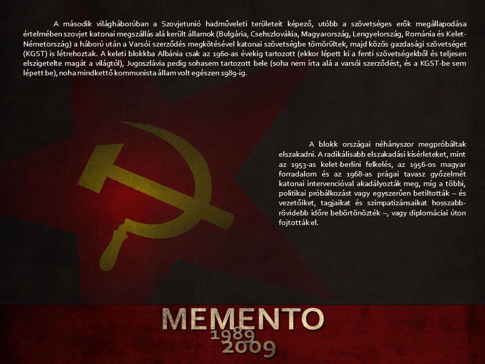 A második világháborúban a Szovjetunió hadműveleti területeit képező, utóbb a szövetséges erők megállapodása értelmében szovjet katonai megszállás alá került államok (Bulgária, Csehszlovákia, Magyarország, Lengyelország, Románia és Kelet-Németország) a háború után a Varsói szerződés megkötésével katonai szövetségbe tömörültek, majd közös gazdasági szövetséget (KGST) is létrehoztak. A keleti blokkba Albánia csak az 1960-as évekig tartozott (ekkor lépett ki a fenti szövetségekből és teljesen elszigetelte magát a világtól), Jugoszlávia pedig sohasem tartozott bele (soha nem írta alá a varsói szerződést, és a KGST-be sem lépett be), noha mindkettő kommunista állam volt egészen 1989-ig.