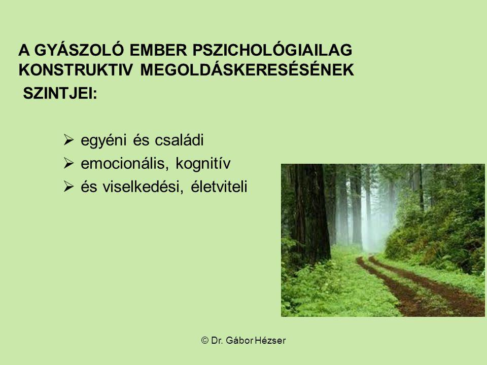 A GYÁSZOLÓ EMBER PSZICHOLÓGIAILAG konstruktiv MEGOLDÁSKERESÉSÉNEK