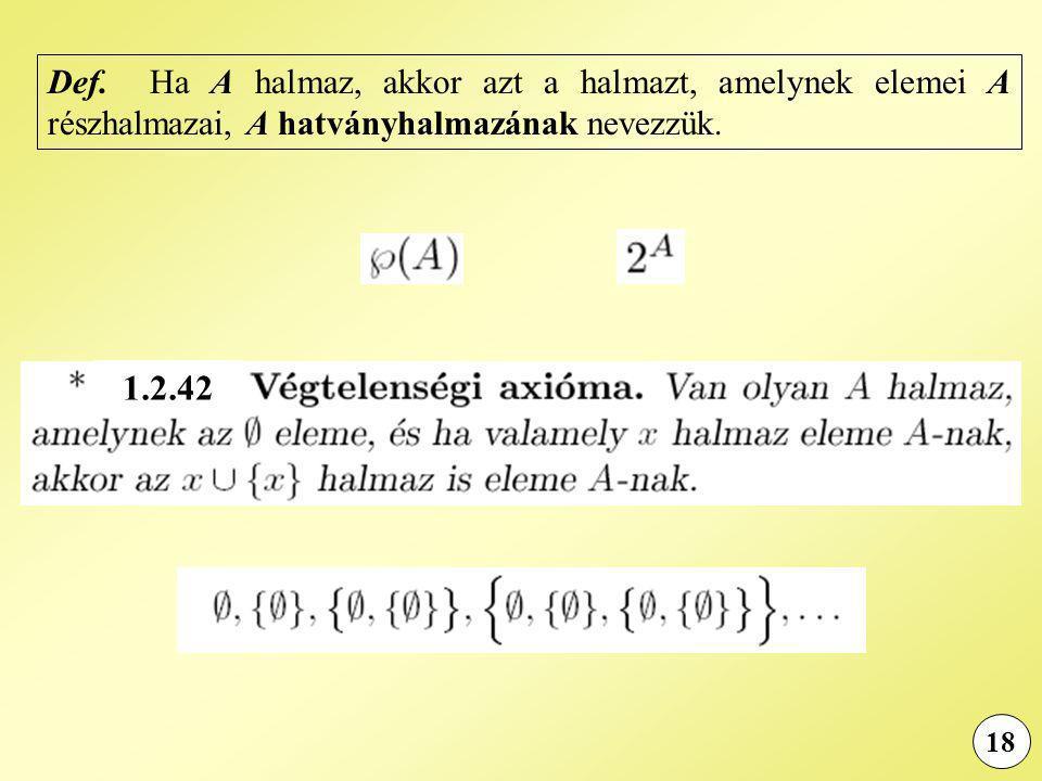 Def. Ha A halmaz, akkor azt a halmazt, amelynek elemei A részhalmazai, A hatványhalmazának nevezzük.