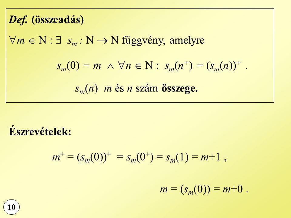 m  N :  sm : N  N függvény, amelyre