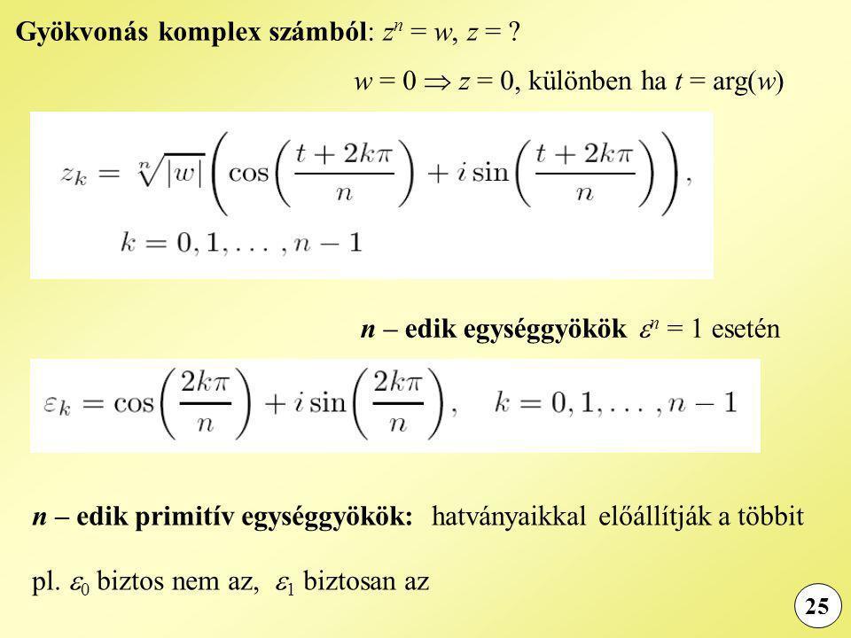 Gyökvonás komplex számból: zn = w, z =