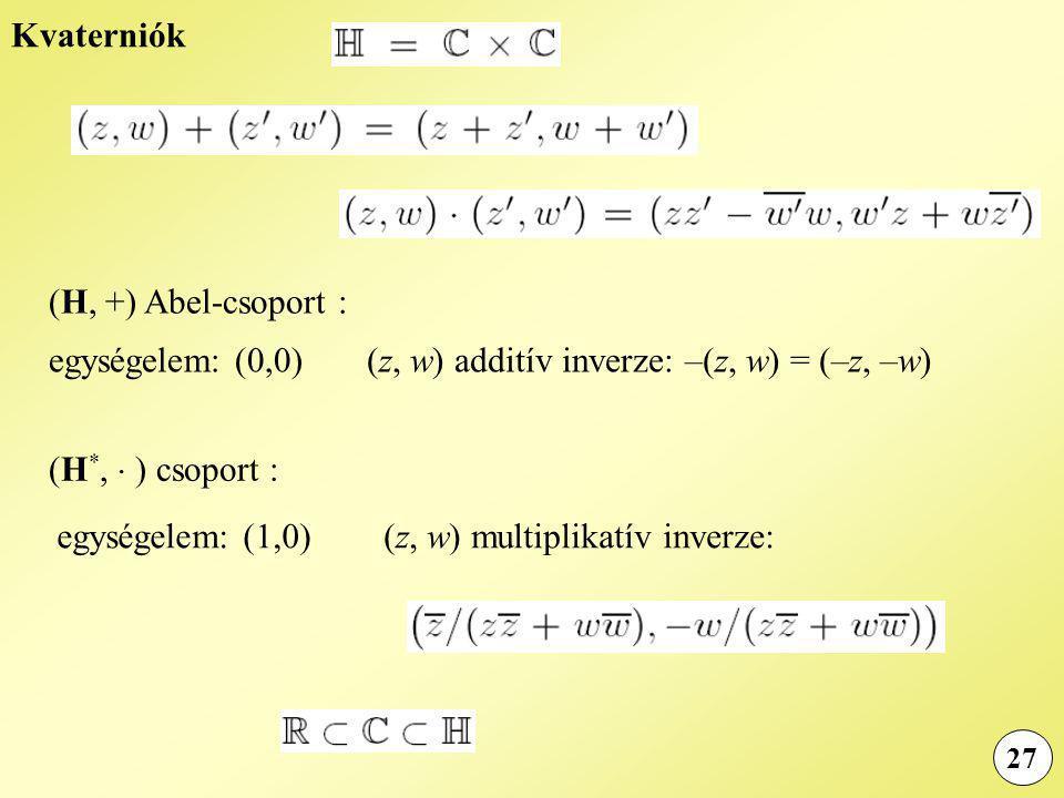 (z, w) additív inverze: –(z, w) = (–z, –w)